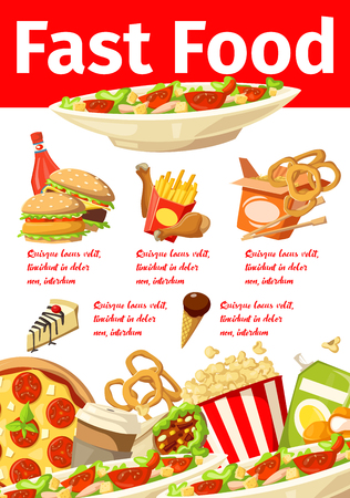 Fast food promo poster takeaway menu design. French fries and chips, roast chicken and hamburger, vegetable salad and pizza, pop corn and juice, cheesecake and ice-cream. Snack meal brochure