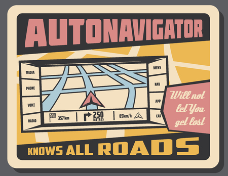 Car navigator retro poster. Automotive navigation system used to find direction. City highways and roads scheme with pointer that shows vehicle location. Program for cars that will not let get lost Stock Vector - 114937137