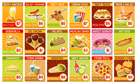 Fast food price tag cards. Hot Mexican dishes and cinema food, tasty sauces and sweet desserts, fresh drinks and hot meat. Italian pizza and hotdog, burger and fries, tacos and burritos vector. Illustration