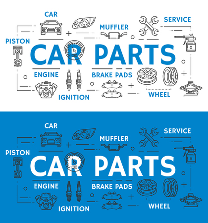 Car repairing service line art poster separate mechanic vehicle parts. New muffler, brake pads of high quality, powerful engine, strong ignition, wheel replacement and metal piston outline vector.