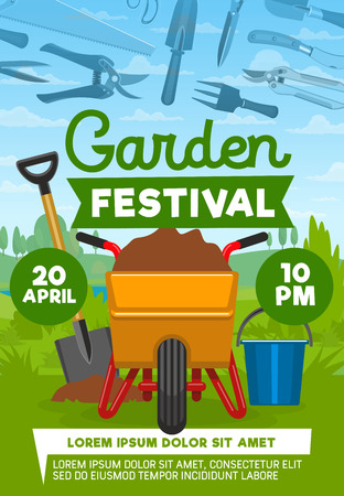 Garden festival poster with farming equipment. Working tools spade for digging, bucket, cart with ground, trowel and rake, fork and sickle convenient gardening instrument icons on vector poster. Illustration