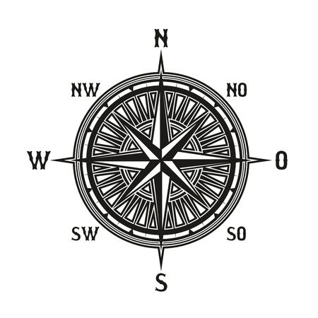 Ikona Kompas w stylu retro vintage. Instrument wektorowy używany do nawigacji i orientacji. Narzędzie nawigacyjne pokazujące kierunek i geograficzne punkty kardynalne, używane w podróży, ikona wskazówek na białym tle