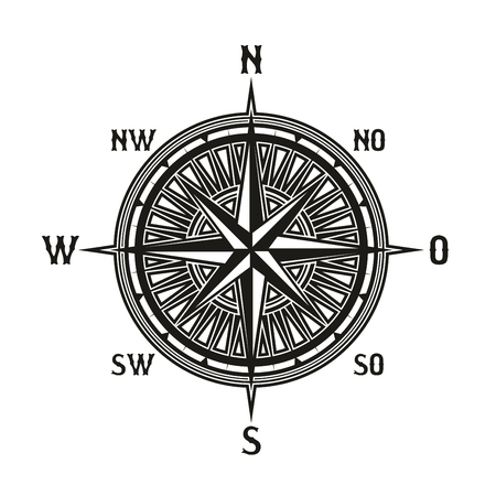 Compass icon in retro vintage style. Vector instrument used for navigation and orientation. Navigation tool showing direction and geographic cardinal points, used in travelling, guidance icon isolated