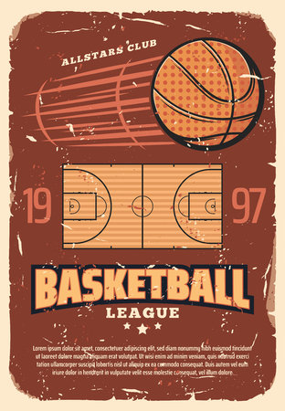 Basketball league retro poster with sport field and heavy ball. Vintage brochure for basketball championship or all stars tournament, team game with ball, invitation old shabby leaflet vector.