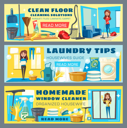 Clean floor and laundry tips, homemade window polishing cartoon banners. Advice for housewife to maintain house. Woman with buckets and brushes for mopping or sweeping and washing clothes vectors Illustration