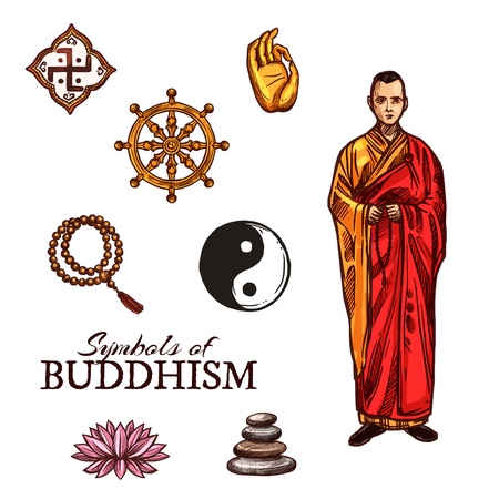Symbols of Buddhism monk, dharma wheel, rosary and yin-yang sign, lotus flower and pyramid of stones, sketch style vector. Buddhist and religious holy symbols and icons, oriental religion vector.