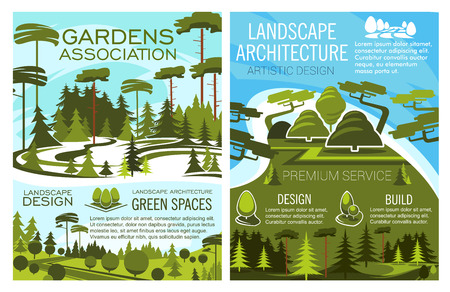 Landscape design and green spaces posters set. Ecology and environment maintenance. Planting fresh trees and thick bushes on neat lawns or meadows in city parks and reserved forests vector.