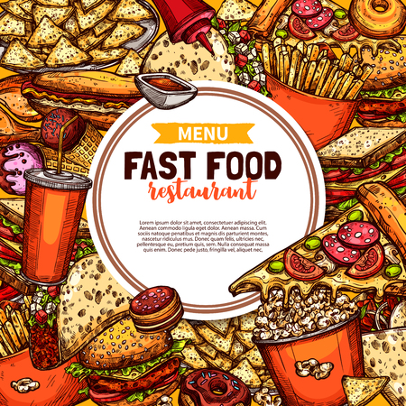 Fast food menu poster in sketch style. Street food sweet soda and hot burger, Italian pizza and french fries, crispy popcorn and soft hot dog, Mexican crispy taco and sweet macaroon vector leaflet