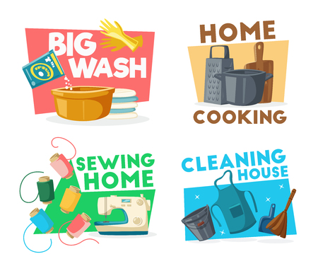 Household and cleaning icons with tools for housework. Big wash and home cooking symbols with basin full of washing powder and dishware. Sewing machine with thread coils and bucket with apron vector