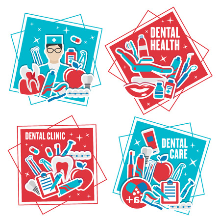 Dental health and care icons. Dentist in uniform and chair for examination, human teeth and braces, toothpaste and toothbrush, dentistry tools and dental fillings, medicines and prescription vector Çizim