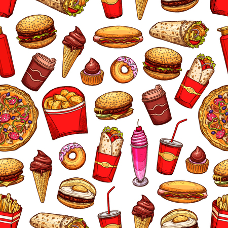 Street fast food desserts, drinks and snacks icons seamless pattern. Background with kebabs and fried chicken, burgers and hotdog, pizza and coffe, sweet soda, chocolate cake and donuts vector sketch Иллюстрация