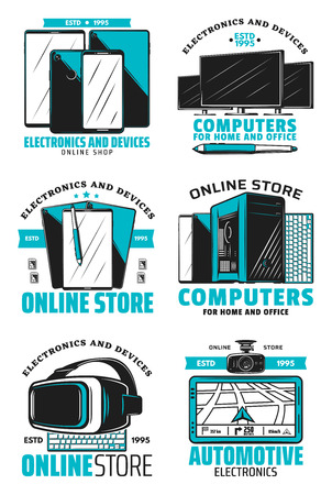 Computers for home and office icons. Modern devices and electronic supplies online store technology shop with TV and car navigator, displays and gadgets. Smartphones and virtual reality glasses vector Ilustração