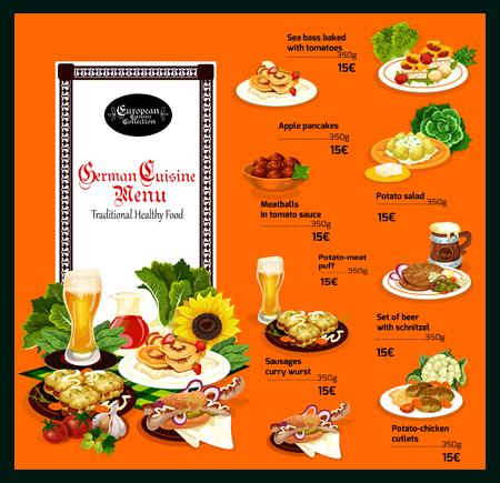 Gerichte der traditionellen deutschen Küche, Speisen im Menü mit Preisen. Kaltes Bier und Wolfsbarsch, Apfelpfannkuchen und Fleischbällchen in Sauce, Kartoffelsalat und Pufffleisch, Schnitzel und Würste, Hähnchenkoteletts Vektor Vektorgrafik