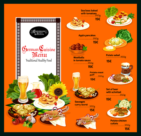 Traditional German cuisine dishes, food in menu with prices. Cold beer and sea bass, apple pancakes and meatballs in sauce, potato salad and meat puff, schnitzel and sausages, chicken cutlets vector Illustration