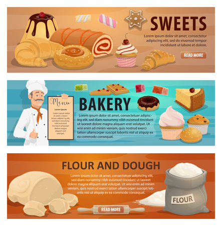 Flour and dough for sweets and bakery products banners. Baker in uniform holds menu vector. Confectionery cakes, cupcakes and donuts, marmalades and pies, croissants and buns of natural organic wheat