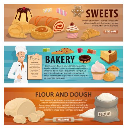 Farina e pasta per dolci e banner di prodotti da forno. Baker in uniforme detiene il vettore di menu. Torte dolciarie, cupcakes e ciambelle, marmellate e crostate, croissant e focacce di grano biologico naturale