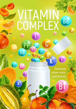 Complex of vitamins A and C with D and minerals B, P poster with fresh fruits and vegetables. Pharmaceutical pills, dietary supplement drops with pumpkin and peach, pear and citrus fruits, apples vector