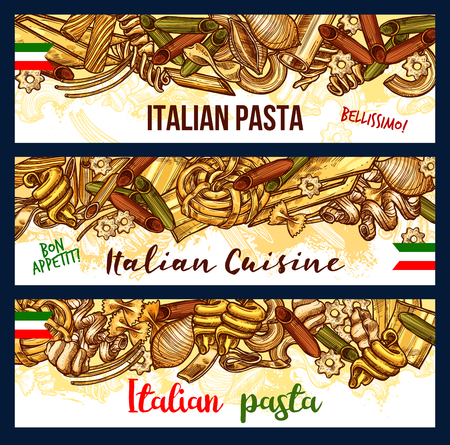 Pasta Italian traditional cuisine banners. Fusilli and rigatoni, lasagna, noodle and ravioli, penne, farfalle and spaghetti, cannelloni sketches Wheat macaroni and spaghetti food of wheat flour vector Illustration
