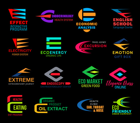 Icons on letter E vector symbols for business isolated. Effect interactive program and endocrinology system, economic analysis and English school, electricity and ecoenergy badges, excursion and eco.