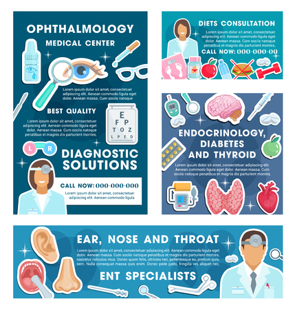 Medical posters specialists in ophthalmology and endocrinology. Professional consultations on ear, nose and throat, diabetes and thyroid, dietician doctors. Ophthalmologist and endocrinologist vector.