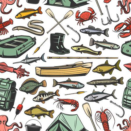 Equipo de pesca, pesca y peces de patrones sin fisuras. Botes inflables y de madera, cañas y botas, remos y vector de dibujo de carpa impermeable. Atún y merluza, sardina, latón de mar, dorado y bacalao
