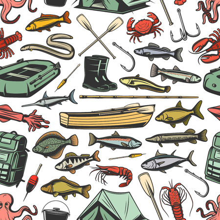 Fishery gear equipment, fishing and fish seamless pattern. Inflatable and wooden boats, rods and boots, paddles and waterproof tent sketch vector. Tuna and hake, sardine, sea brass, dorado and cod