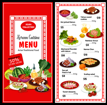 Korean cuisine menu and prices. Hot pickled Daikon, Yakwa cookies, rainbow trout and marinated flounder, sea eel fried in foil, scallop salad. Exotic Asian food sweet desserts and main courses vector Illustration