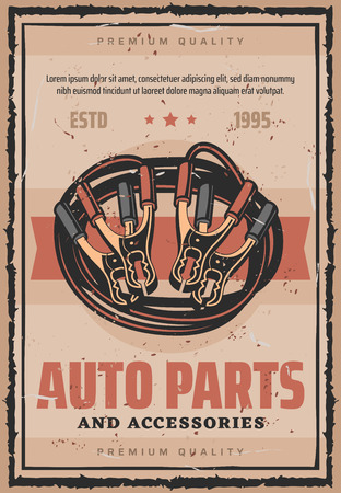 Car parts and accessories retro poster. Repair shop auto service advertisement. Jumper cable and caption nippers or pliers, vector mechanic and electric tools for transport items repairing and fix
