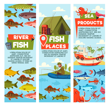 Fish places and seafood banners. Fisherman on inflatable boat and waterproof tent, bucket and rods, backpack and boots. Fishing gear and crab, octopus and shrimp, sailing boat, marine posters