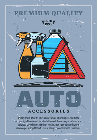 Car accessories and cleaning chemical means retro poster. Auto waterless sprayers and bottle of antifreeze, canister and give way or stop sign and janitors. Vehicle repairing and parts shop vector