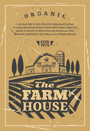 Farm house for organic products retro poster. Agriculture card with fields and rows of vegetables and wheat, barn among trees, orchard garden vector. Rural landscape with building for harvest storage Banco de Imagens - 114937154