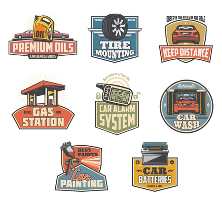 Car wash and gas station retro icons. Premium oils, tire replacement, corpus painting and alarm services, car batteries change symbols. Vehicle services vector transport maintenance industry signs