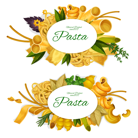 Pasta natural product commercial icons with macaroni and spaghetti, fusillini and farfalle, rigatoni and lasagna, best hard sorts. Main Italian cuisine element vector isolated on white