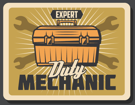Car repairing and mechanic service retro poster with tool kit. Professional expert help to fix vehicle. Auto parts replacement and renovation advertisement vintage vector car maintenance industry card Illustration