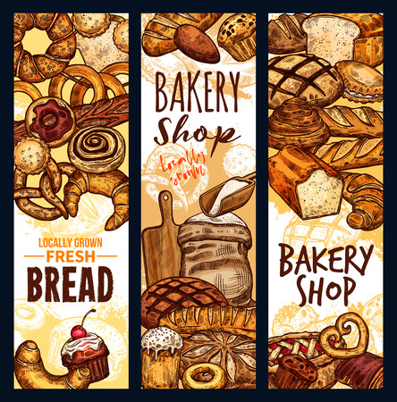 Vector bread sketch banners for bakery shop Banque d'images - 105091480