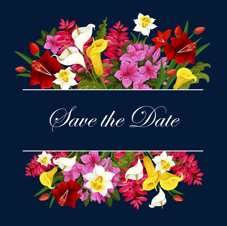 Flowers for Save the Date wedding vector card