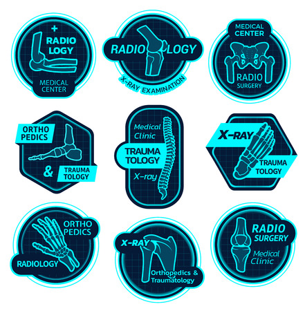 Orthopedics health center vector X-ray icons