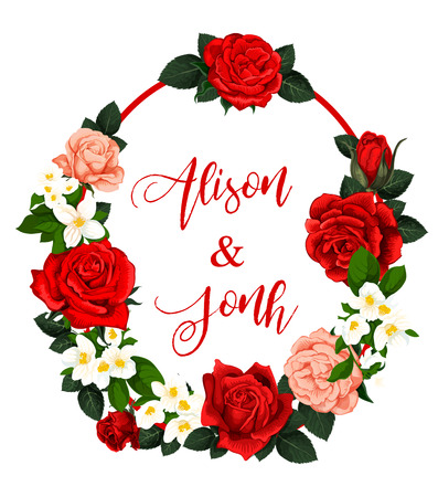 Save the Date wedding greeting card or engagement party invitation. Vector design of blooming roses and floral blossoms frame with bride and bridegroom names in flourish wedding design