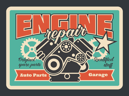 Car service and engine repair station vintage poster for automobile shop or mechanic garage. Vector retro design of car engine with piston and cogwheels or star for premium quality car diagnostics Illustration