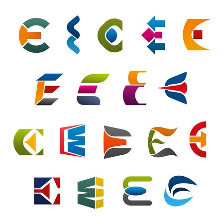 Iconos y símbolos del vector de la letra E