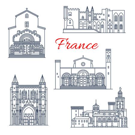 France Avignon and Arles vector architecture Stock Illustratie