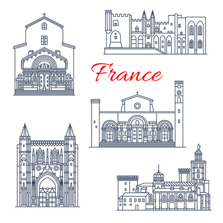 France Avignon and Arles vector architecture Illustration