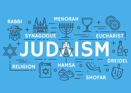 Vector poster of Judaism religious line symbols Stock Illustratie