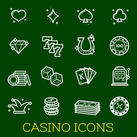 Vector thin line icons of casino poker gambling Illustration
