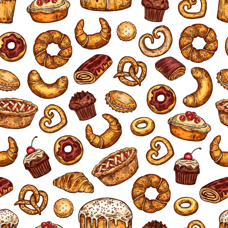 Bread and pastry desserts seamless pattern. Vector sketch background of baked patisserie, flour bag, wheat loaf and rye bagel or croissant baguette and chocolate muffin for baker shop design Illustration