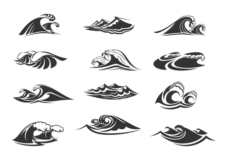 Waves icons of ocean water splashes or sea tidal gales. Vector isolated symbols o marine waves or stormy tide with splashing flows, surf with froth and windy storm wavy streams