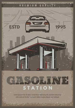 Gasoline station retro poster or car service vintage design for automobile shop or mechanic repair center. Vector gas fuel station for car diagnostics, spare parts store and garage Çizim