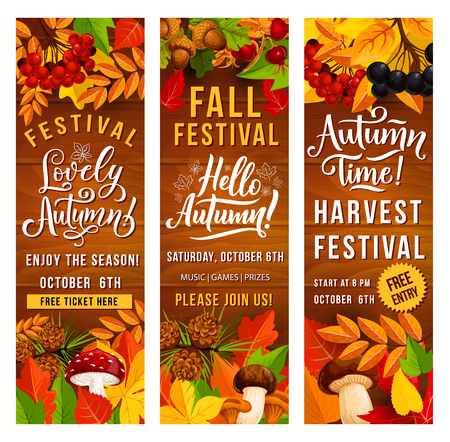 Autumn harvest festival invitation banner set of fall season holiday template. Fallen leaf poster on wooden background with border of orange and red foliage of maple and oak, mushroom, acorn and berry Illusztráció