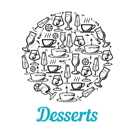 Vector poster of desserts and drinks