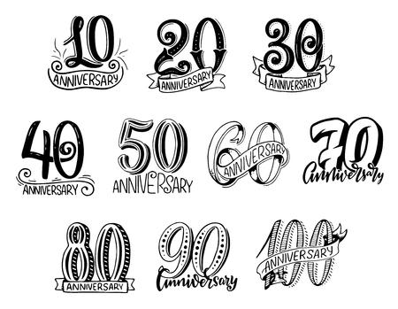 Vector verjaardag jaar nummers vector belettering Vector Illustratie